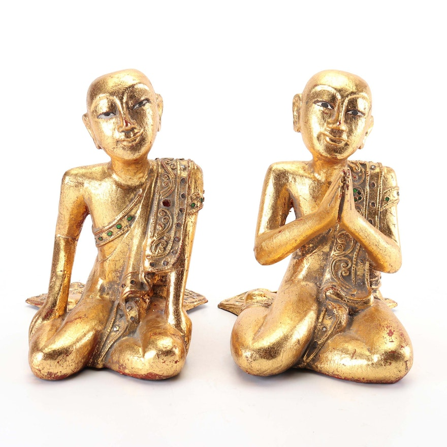 Thai Wood Carved Gilt Sculpture of Buddhist Temple Monks