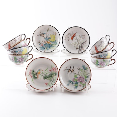 Japanese Flower and Bird Motif Cups and Saucers