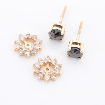 10K Yellow Gold Diamond Stud Earrings with 14K Gold Diamond Jackets
