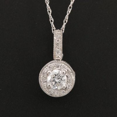 14K and 10K White Gold Diamond Pendant Necklace
