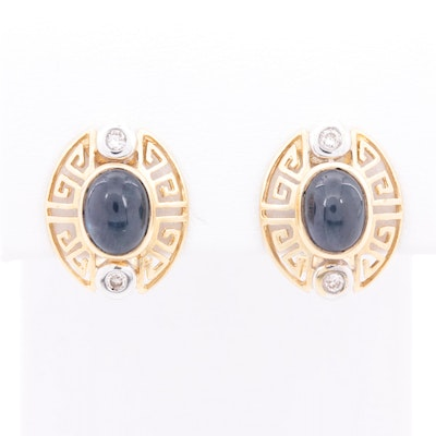 14K Yellow Gold Sapphire and Diamond Earrings with White Gold Accents