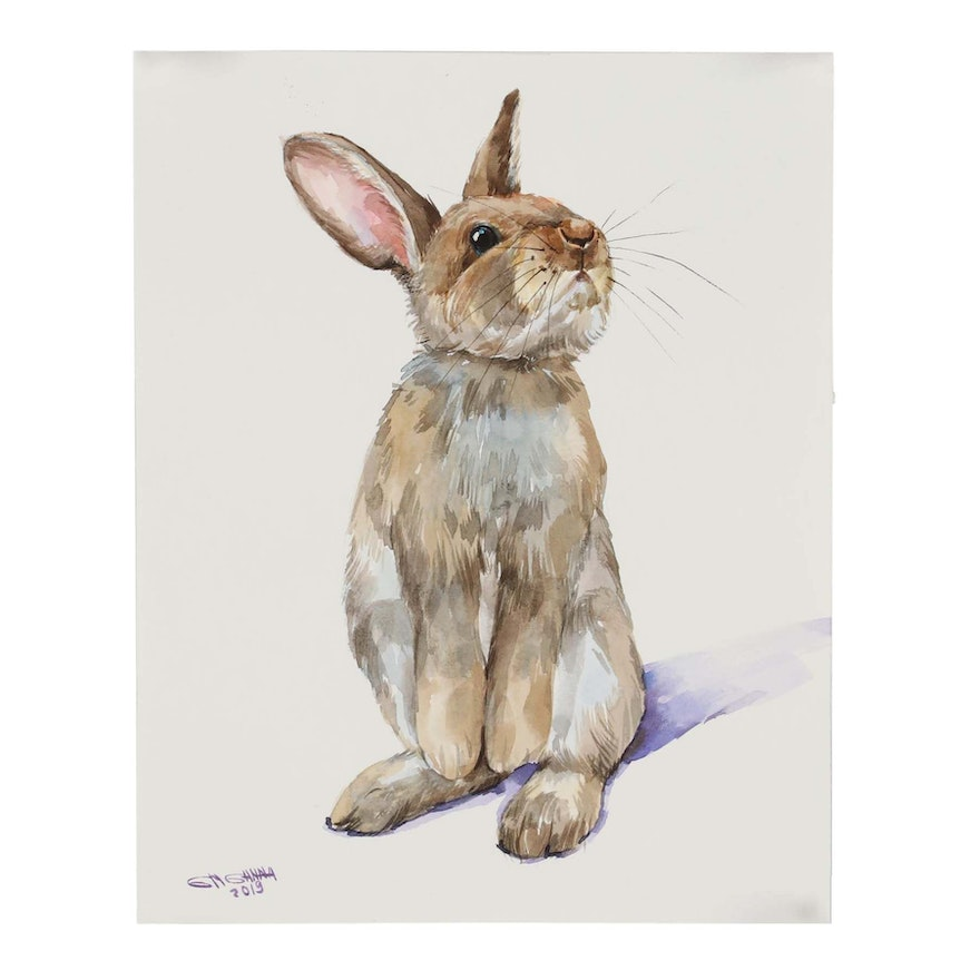 "Ganna Melnychenko Watercolor Painting ""Curious Bunny Portrait"""