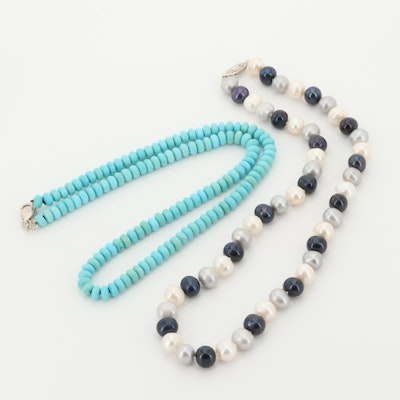 Sterling Silver Cultured Pearl and Turquoise Necklaces