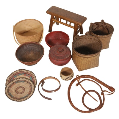 Hand Crafted Baskets, Whip and Bench