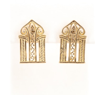 18K Yellow Gold Earrings with Architectural Motif