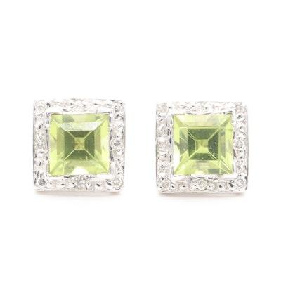 14K White Gold Peridot and Diamond Stud Earrings