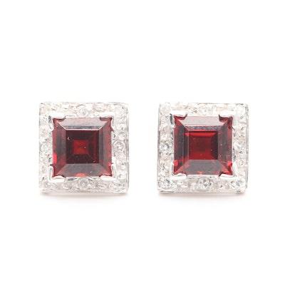 14K White Gold Garnet and Diamond Stud Earrings
