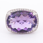 14K White Gold, 17.46 CT Amethyst and Diamond Ring with Openwork Floral Motif