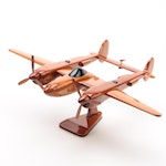 "Mahogany ""Lockheed P-38"" Airplane Display Model"