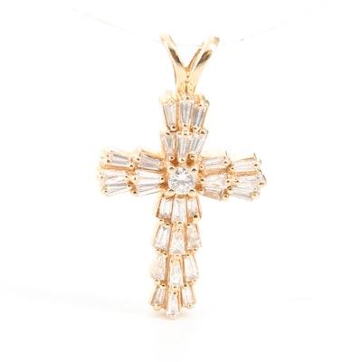 14K Yellow Gold 1.00 CTW Diamond Cross Pendant