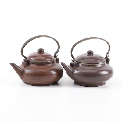 Two Antique Chinese Yixing Clay Teapots with Brass Handles, 19th Century