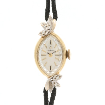Omega 14K Yellow Gold Filled Diamond Wristwatch