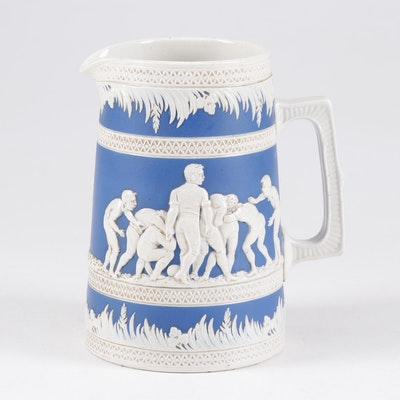 Copeland Late Spode Football Motif Blue and White Ceramic Pitcher, 1895