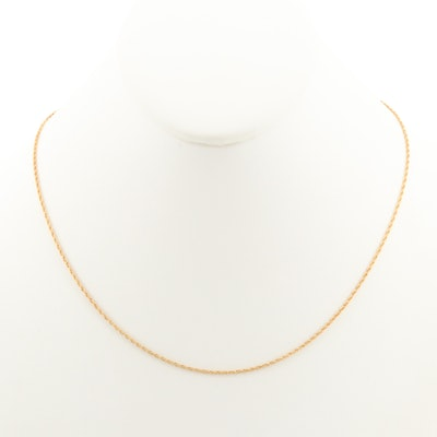 14K Yellow Gold Rope Chain Necklace