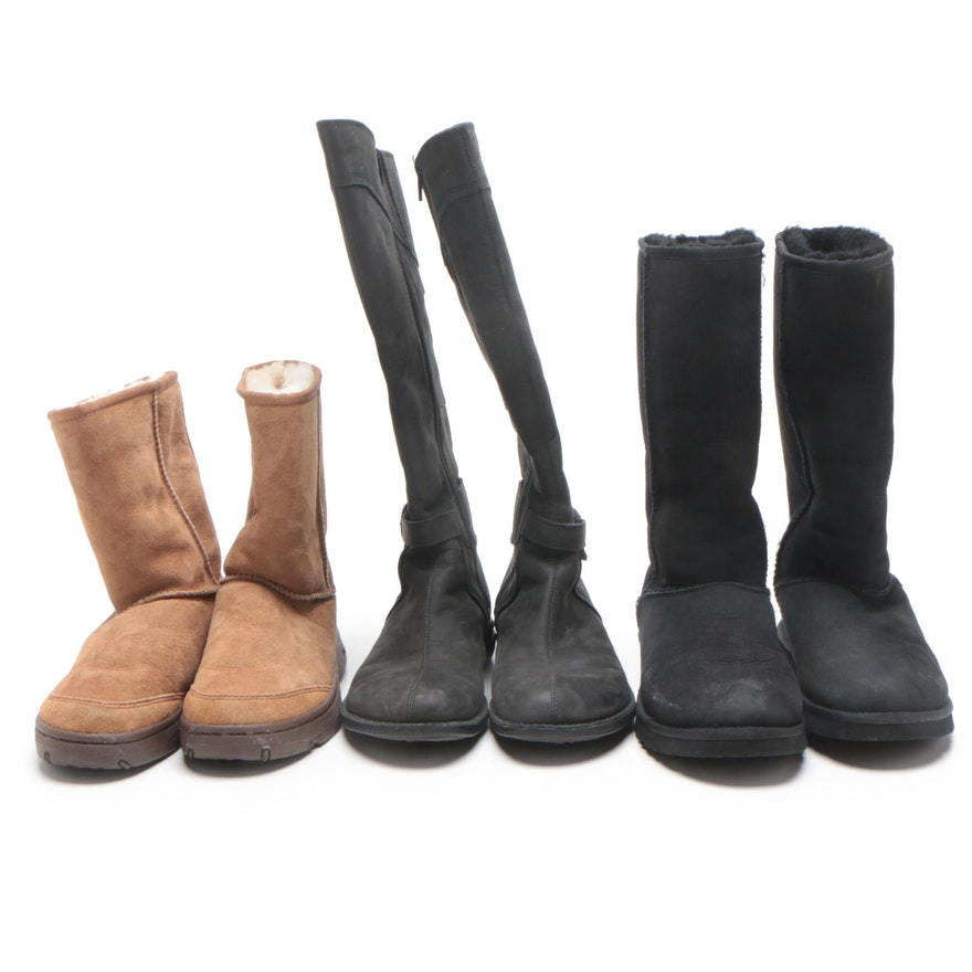 UGG Black Classic Tall Boots, UGG Tan Cove Boots and Merrell Black Leather Boots