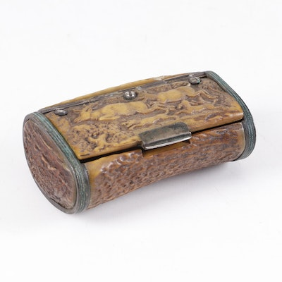 German Brass and Stag Horn Box with Carved Hunting Scene, 19th Century