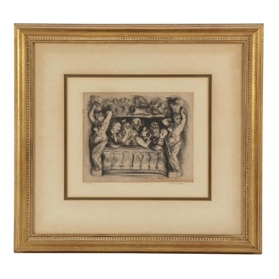 "Reginald Marsh Lithograph with Chine-Collé ""Theatre Palais Royal"""