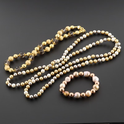Sterling Silver Cultured Pearl and Gemstone Necklaces Featuring A Veronese