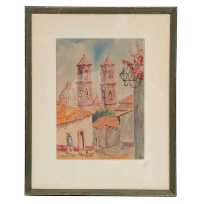 Mexican Village Scene Watercolor Painting