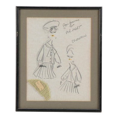 Stan Herman Graphite Fashion Illustration with Fabric Swatch