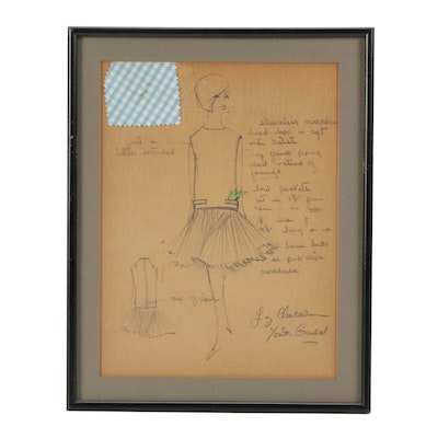 Liz Claiborne Graphite Fashion Illustration with Notes and Fabric Swatch