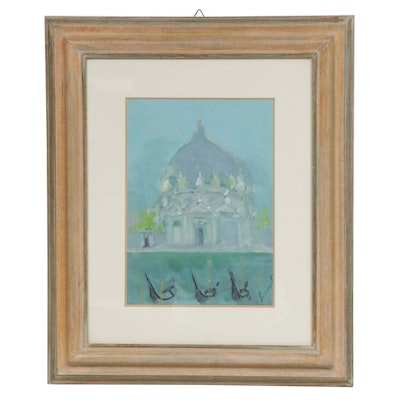 20th Century Architectural Scene Oil Painting