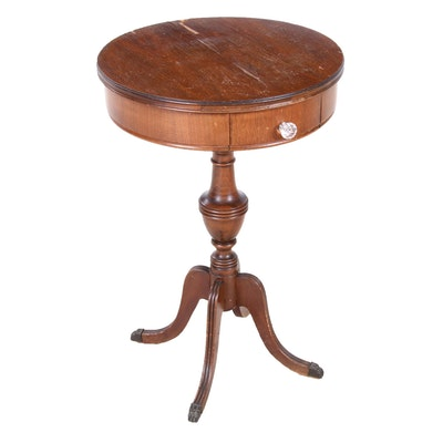 Duncan Phyfe Style Walnut Drum Table, Early 20th Century