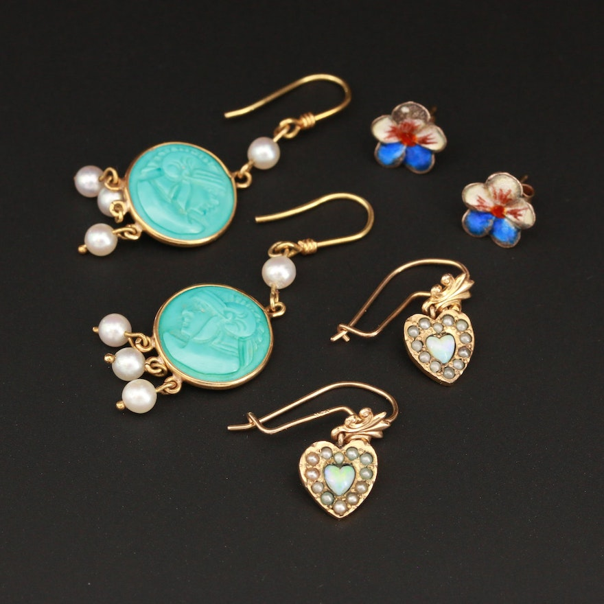 Vintage Assortment of Mixed Gold and Gemstone Earrings with Opal and Turquoise