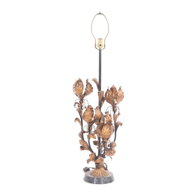 Art Nouveau Style Tole Metal Table Lamp, Early 20th Century
