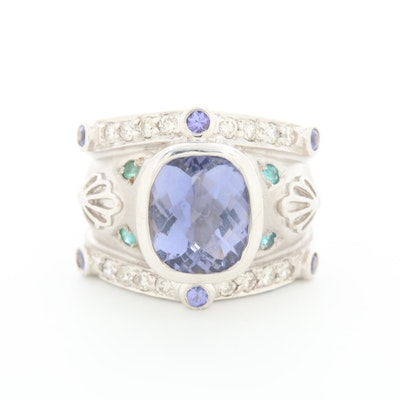 18K White Gold Iolite, Emerald, and Diamond Ring