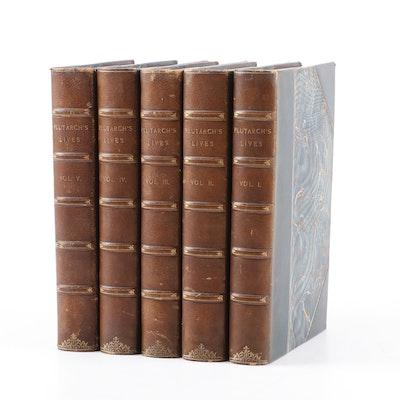 """1882 """"Plutarch's Lives"""" Five Volume Set"""