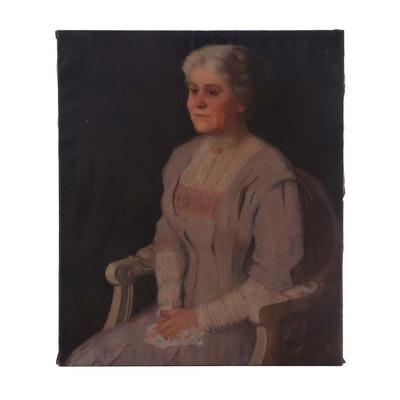 M. Bretz Early 20th Century Portrait Oil Painting