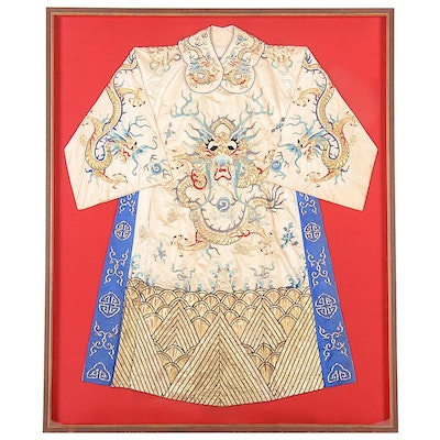 Chinese Five-Clawed Imperial Dragon Robe with Collar in Frame, Qing Dynasty