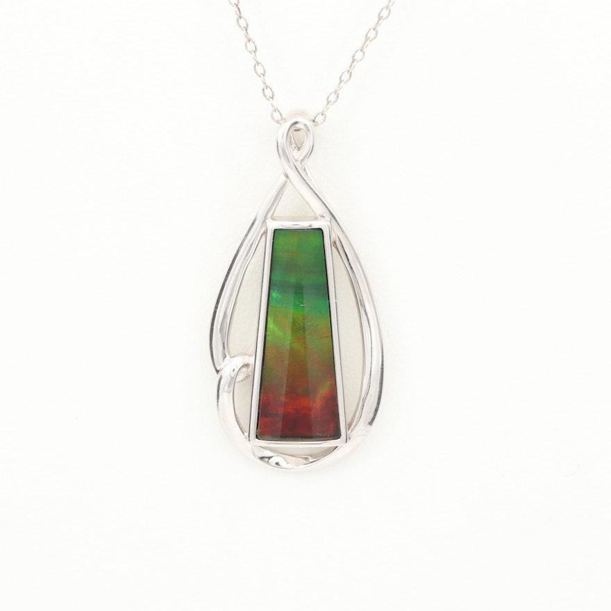 Sterling Silver Ammolite/Quartz Triplet Pendant Necklace