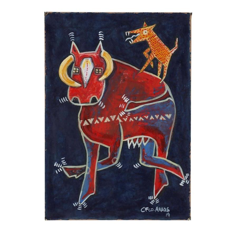 """Cesar Araos Outsider Art Acrylic Painting """"Ballerina Cow"""""""