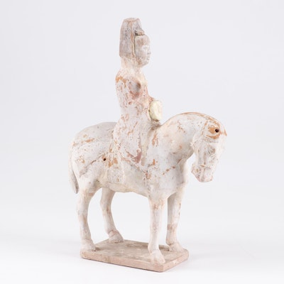 Chinese Tang Dynasty Pottery Figure of Woman on Horse