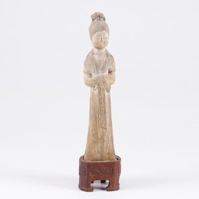 Chinese Tang Dynasty Pottery Figure of a Court Lady