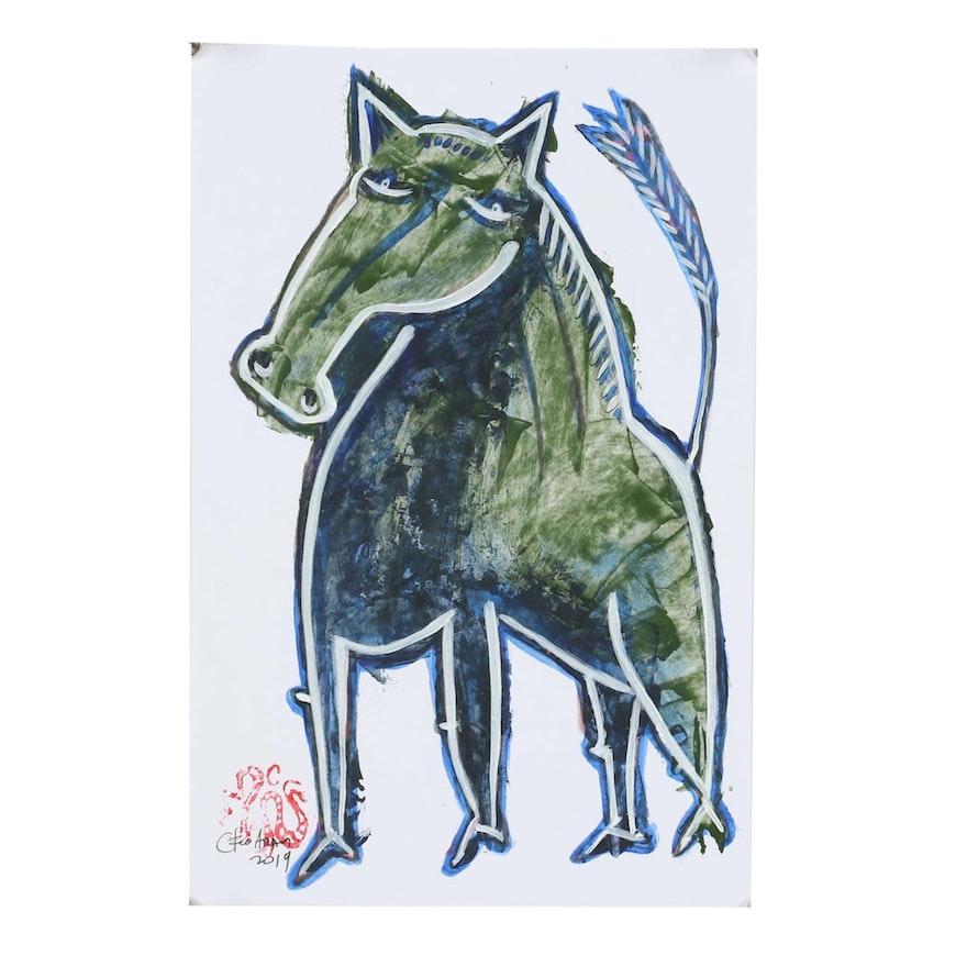 """Cesar Araos Outsider Art Acrylic Painting """"Horse 1.2"""""""