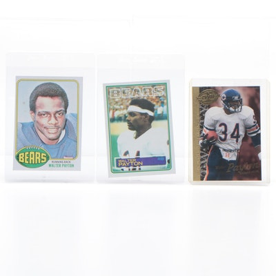 1976 Walter Payton Rookie With 1977 And 1982 Football Cards