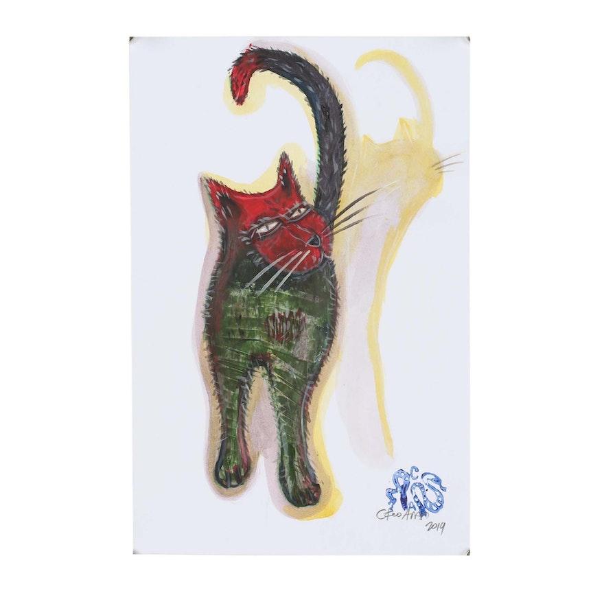 "Cesar Araos Outsider Art Acrylic Painting ""Gato"""
