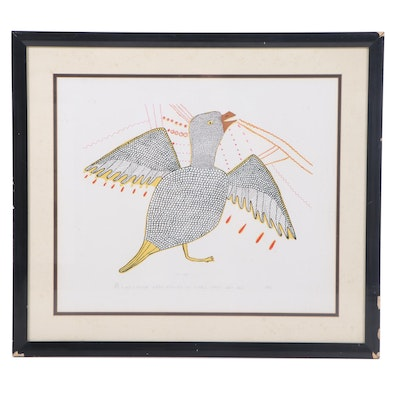 1982 Inuit Style Serigraph of Stylized Bird