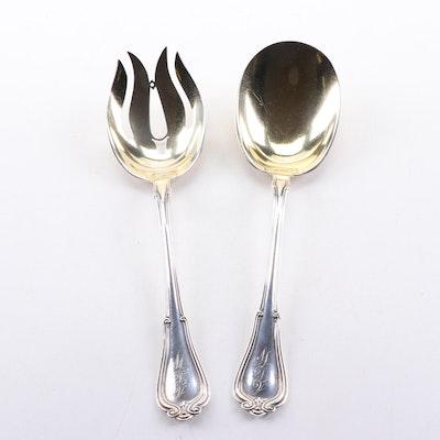 """Gorham """"Norfolk"""" Gold-Wash Sterling Silver Serving Utensils"""