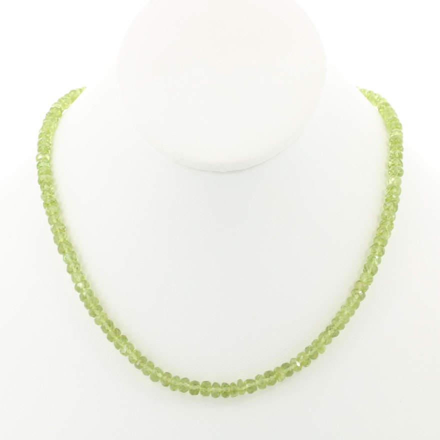 Sterling Silver Peridot Beaded Necklace