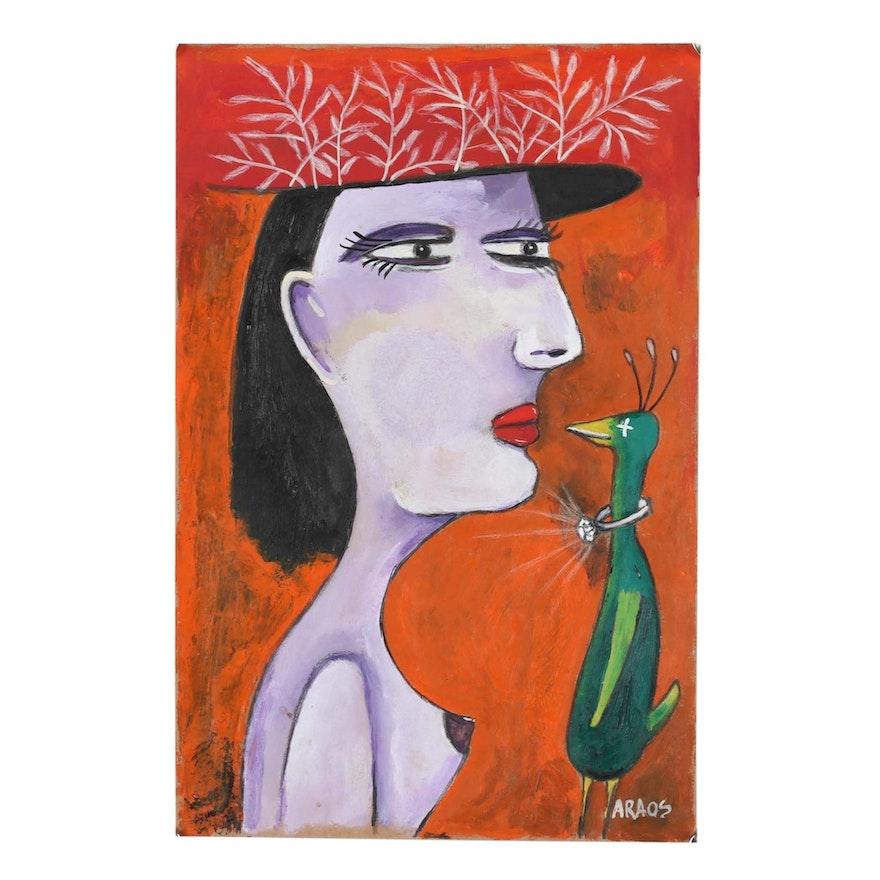 "Cesar Araos Outsider Art Acrylic Painting ""Marry Me"""