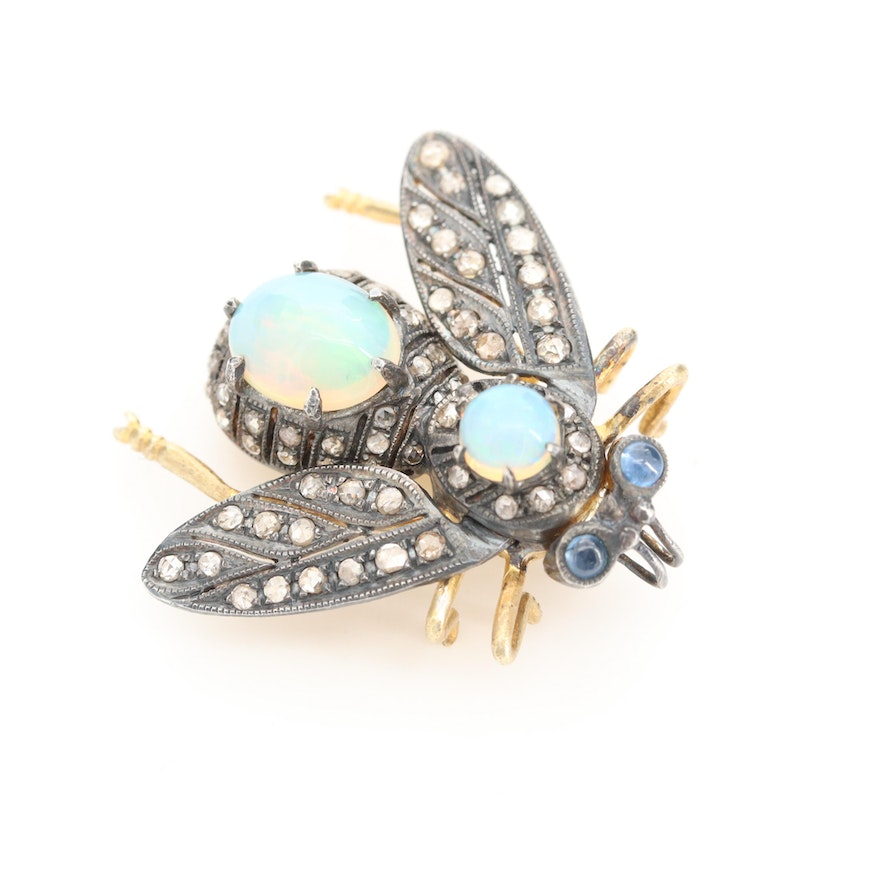 Sterling Opal, Diamond and Sapphire Articulated Winged Insect Converter Brooch