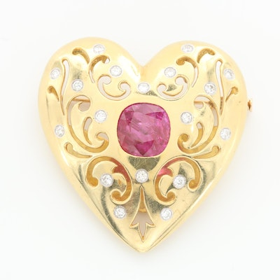 18K Gold 5.81 CTW Ruby and Diamond Heart Brooch with 14K White Gold Accents
