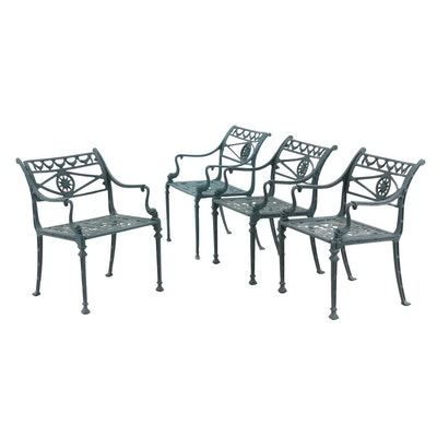 Four Neoclassical Style Painted Aluminum Arm Chairs