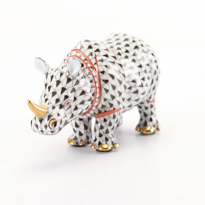 """Herend Black Fishnet with Gold and Terracotta """"Rhinoceros"""" Porcelain Figurine"""