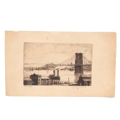"A. Graeme Mitchell Etching ""River City"""