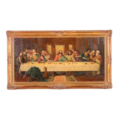20th Century Copy Oil Painting of The Last Supper